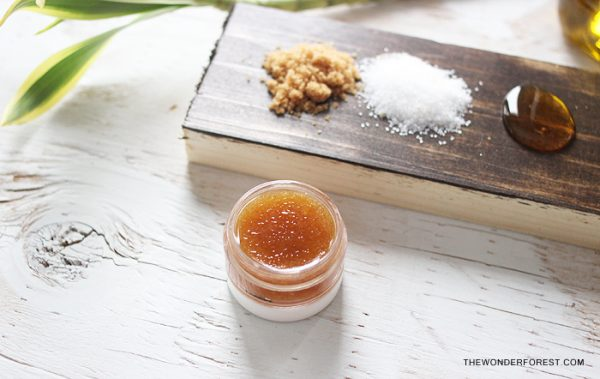 Homemade lip balm with honey